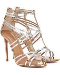 Aquazzura Princess Metallic Leather Sandals