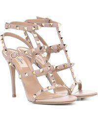 Valentino Rockstud Leather Sandals - Natural