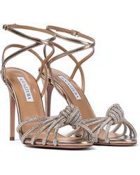 Aquazzura Celeste 105 Embellished Leather Sandals - Metallic