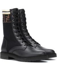 Fendi Leather Biker Boots - Black