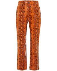 GRLFRND Shiloh Snake-effect Leather Pants - Orange