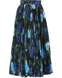 Richard Quinn Falda midi de satén floral - Azul