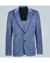 AMI Blazer slim in velluto - Blu