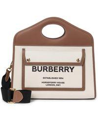 Burberry Sac à bandoulière Pocket Small en coton et cuir - Neutre