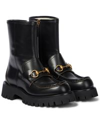 Gucci Horsebit Leather Ankle Boots - Black