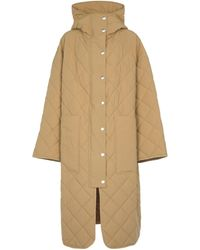 Palm Angels Quilted Coat - Natural