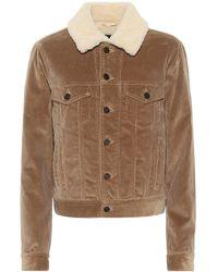 Saint Laurent Shearling-trimmed Corduroy Jacket - Natural