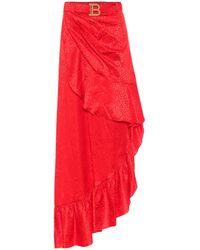 Balmain Leopard-jacquard Silk Camisole - Red
