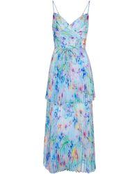 Marchesa notte Vestido de fiesta de chifón plisado - Azul