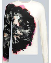 Alexander McQueen Ink Floral Knitted Sweatshirt - White