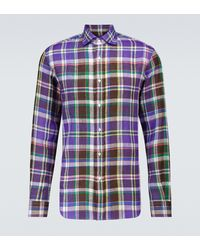 Ralph Lauren Purple Label Plaid Linen Long-sleeved Shirt - Blue