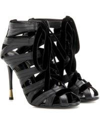 Tom Ford - Velvet-trimmed Leather Sandals - Lyst