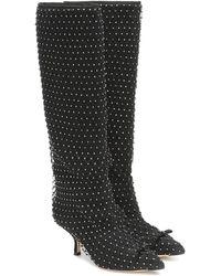 Marco De Vincenzo Embellished Leather Knee-high Boots - Black