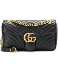 49a8429f62127 Lyst - Gucci Gg Marmont Embellished Leather Crossbody Bag in Black