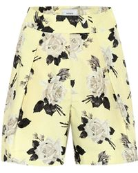 Erdem Howard High-rise Floral Cotton Shorts - Yellow