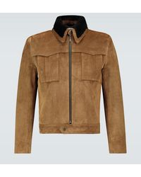 Saint Laurent Giacca in suede e shearling - Marrone