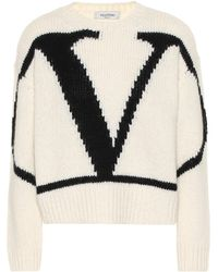 Valentino Vlogo Alpaca And Wool Blend Jumper - White
