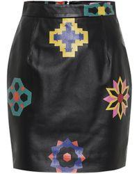 Kirin Minifalda de piel estampada - Negro