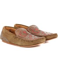 Isabel Marant - Finha Embroidered Suede Loafers - Lyst