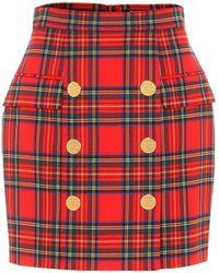 Balmain Minifalda de lana de cuadros - Rojo