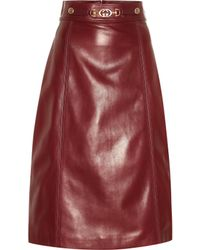 Gucci Embellished Leather Midi Skirt - Brown