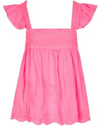 Juliet Dunn Embroidered Cotton Top - Pink