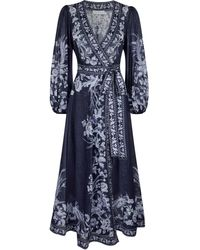 Zimmermann Robe portefeuille Aliane imprimée en coton - Bleu