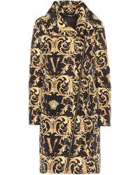 Versace Barocco Print Padded Coat - Black