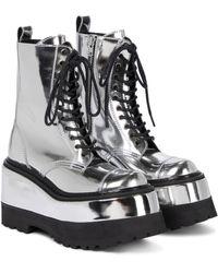 Junya Watanabe Platform Leather Combat Boots - Metallic