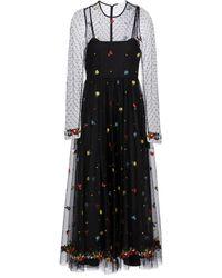 RED Valentino Embroidered Tulle Midi Dress - Black