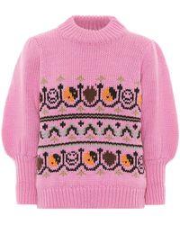 Ganni Pullover Multicolore - Rosa
