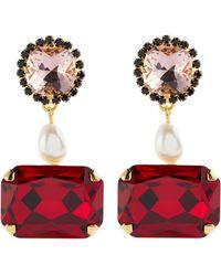 Erdem Pendientes de cristal con perlas artificiales - Rojo