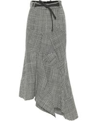 Tom Ford Asymmetric Houndstooth Virgin Wool Skirt - Gray
