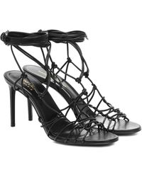 Saint Laurent Robin Strappy Lace Up Heel 105mm Black