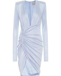 Alexandre Vauthier Metallic Ribbed-knit Minidress - Blue