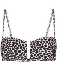 Alexandra Miro Jenna Giraffe-print Bikini Top - Black