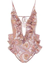 Zimmermann Exclusive To Mytheresa – Waterfall Paisley Swimsuit - Pink