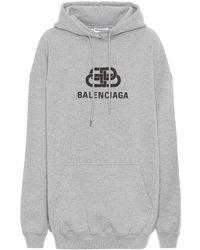 Balenciaga Logo Cotton Hoodie - Gray