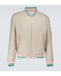 CASABLANCA Wool Monogrammed Bomber Jacket - Multicolour