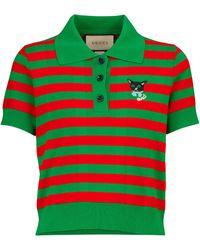 Gucci Polo de algodón a rayas - Verde