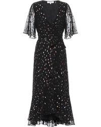 Diane von Furstenberg Vestido wrap Berdina metalizado - Negro