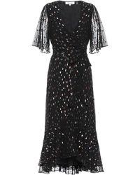Diane von Furstenberg Berdina Metallic Flounce Wrap Dress - Black