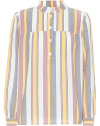 A.P.C. Loula Striped Cotton Blouse - Blue