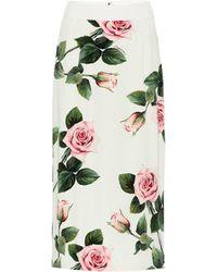 Dolce & Gabbana Floral Stretch-silk Midi Skirt - White
