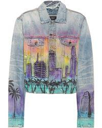 Amiri - Hollywood-print Boxy Denim Jacket - Lyst