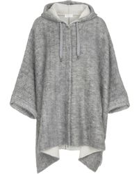 Brunello Cucinelli Hooded Wool-blend Poncho - Gray