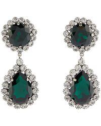 Alessandra Rich Pendientes de clip adornados con cristales - Verde