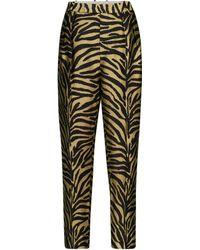 Khaite Magdeline Zebra-print Twill Trousers - Metallic