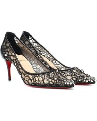 9fe03119b6a Christian Louboutin Decollete 554 Spiked Lace Red Sole Pumps in ...