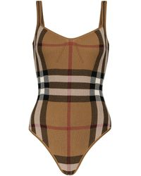 Burberry Checked Cotton-blend Bodysuit - Brown